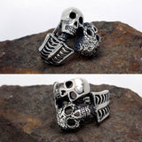 TITANIUM STAINLESS STEEL DOUBLE TROUBLE SKULL RING