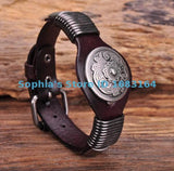 BROWN BIKER VINTAGE FLORAL STUDDED MEN'S LEATHER WRISTBAND CUFF - SPECIAL OFFER