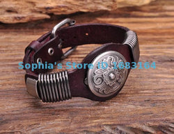 BROWN BIKER VINTAGE FLORAL STUDDED MEN'S LEATHER WRISTBAND CUFF - FREE OFFER - Free + Shipping