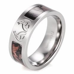 MEN'S BROWN CAMOUFLAGE REAL TREE CARVED ANTLER CAMO TITANIUM RING - SPECIAL OFFER - RETAIL