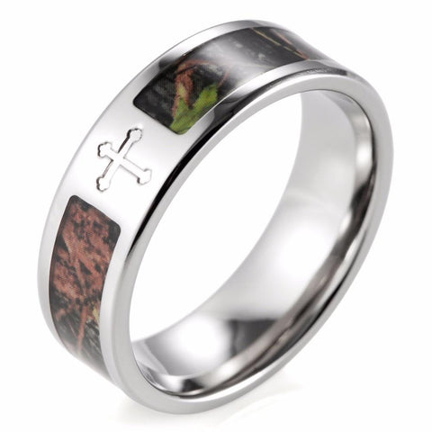 MEN'S CAMO CROSS POLISHED TITANIUM GREEN CAMOUFLAGE RING - SPECIAL OFFER - RETAIL