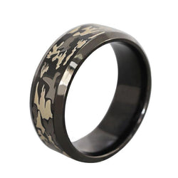 STAINLESS STEEL BLACK TITANIUM CAMOUFLAGE CAMO RING - RETAIL