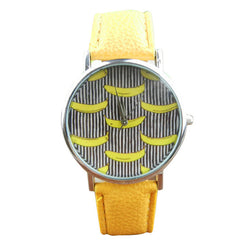 Banana Pattern Leather Band Wrist Watches - Retail
