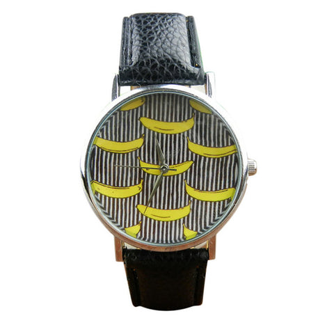 Banana Pattern Leather Band Wrist Watches - Special Offer - Free + Shipping