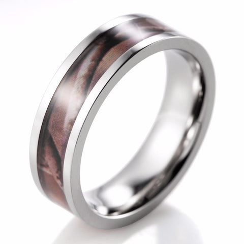MEN'S CAMO TITANIUM BROWN REAL TREE CAMOUFLAGE RING - SPECIAL OFFER - RETAIL