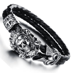 BRAIDED LEATHER STAINLESS STEEL SKULL BRACELET - SPECIAL OFFER
