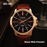 Rose Gold Famous Men's Top Brand Luxury Golden Quartz Wrist Watch