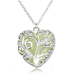 Glow in the Dark Heart Locket Pendant Necklace (Green/Blue/Purple Light)