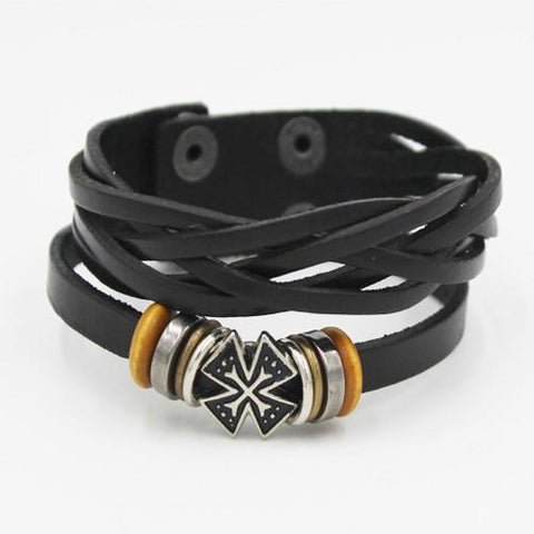 VINTAGE CROSS TWIST LEATHER BRACELET - SPECIAL OFFER