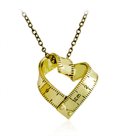 Twisted Heart Shaped Ruler Pendant/Necklace