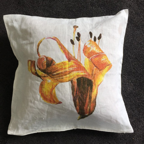 Pastel Drawing Lily Cushion Cover