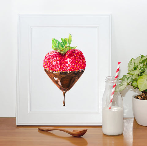 Chocolate Dipped Strawberry / A4 Art Print