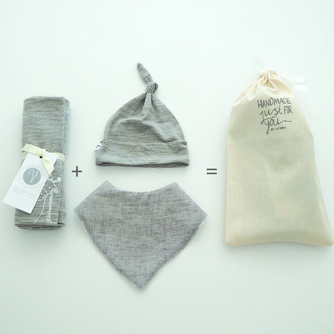 GIFT PACK TWO // Merino Swaddle + Hat + 'The Dribbler' Bib