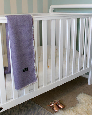 Lilac and White Twill Baby Blanket