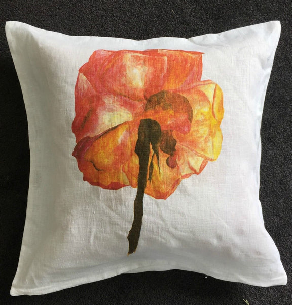 Pastel Drawing Rose Cushion Cover