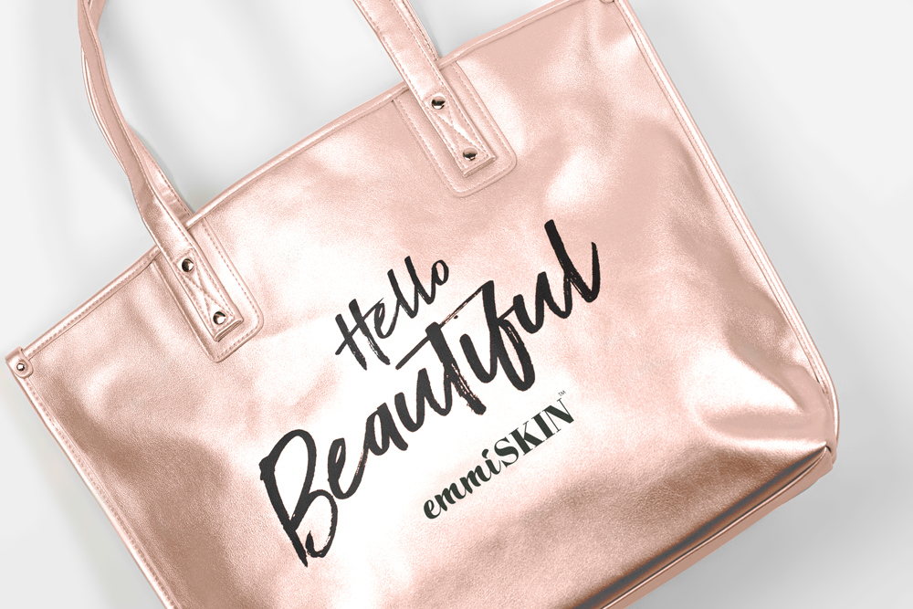 "emmiSKIN Palm Beach ""Hello Beautiful"" Tote: ROSE–GOLD"