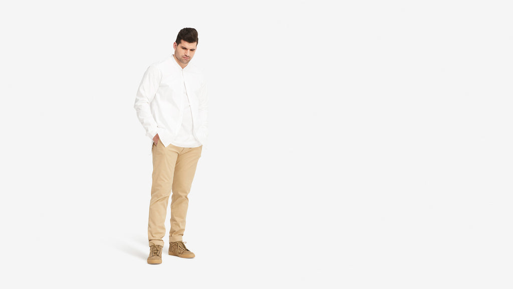 Stampd Rib Collar Shirt White Hero