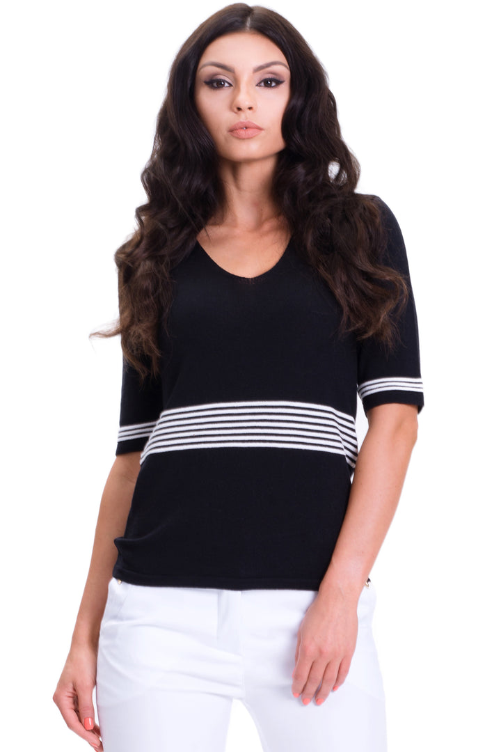 Classic Striped V-Neck Top