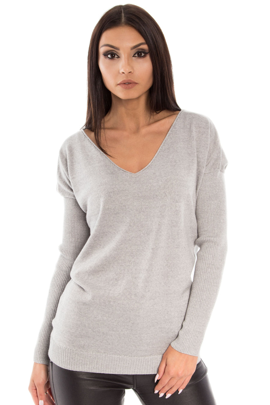 Ribbed Sleeves V-Neck Sweater