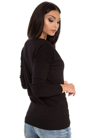 Merino Wool Relaxed Fit V-Neck Top