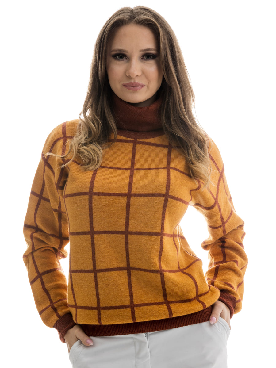 Women's Sweater Turtleneck Jacquard Knit Pattern