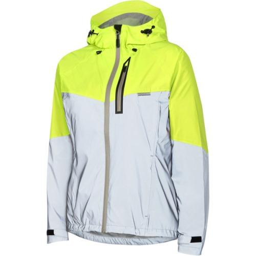 Madison Stellar Womens Reflective Silver/Hi-Viz Yellow Jacket Front