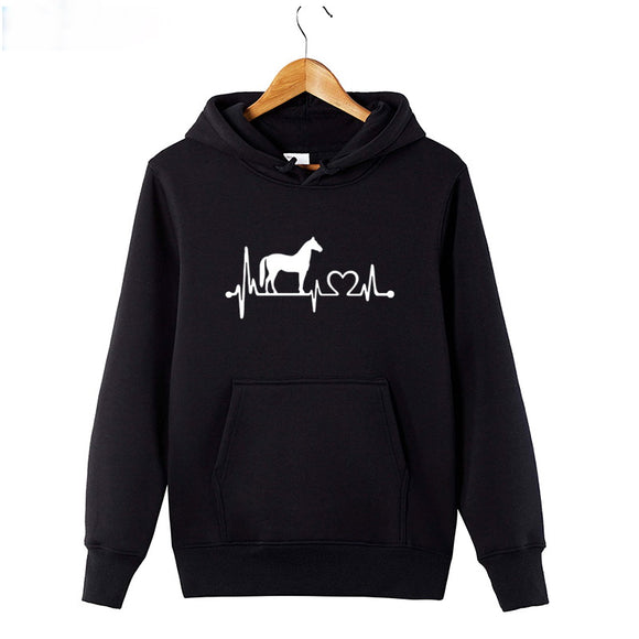 Horse Heartbeat Line Print Heavy Blend Fleece Hooded Sweatshirt Mens Womens