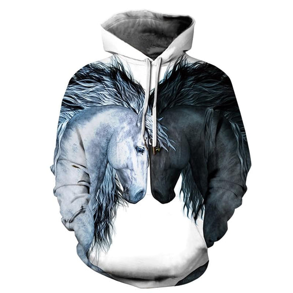 Fashion 3D Horse Print Cool Hoodie Sweatshirt Men Women Casual Pullover