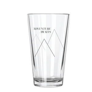 Adventure Awaits (Mountains) Pint Glass - Northern Glasses Pint Glass