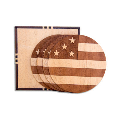 American Flag Wooden Coaster Set - Northern Glasses Pint Glass