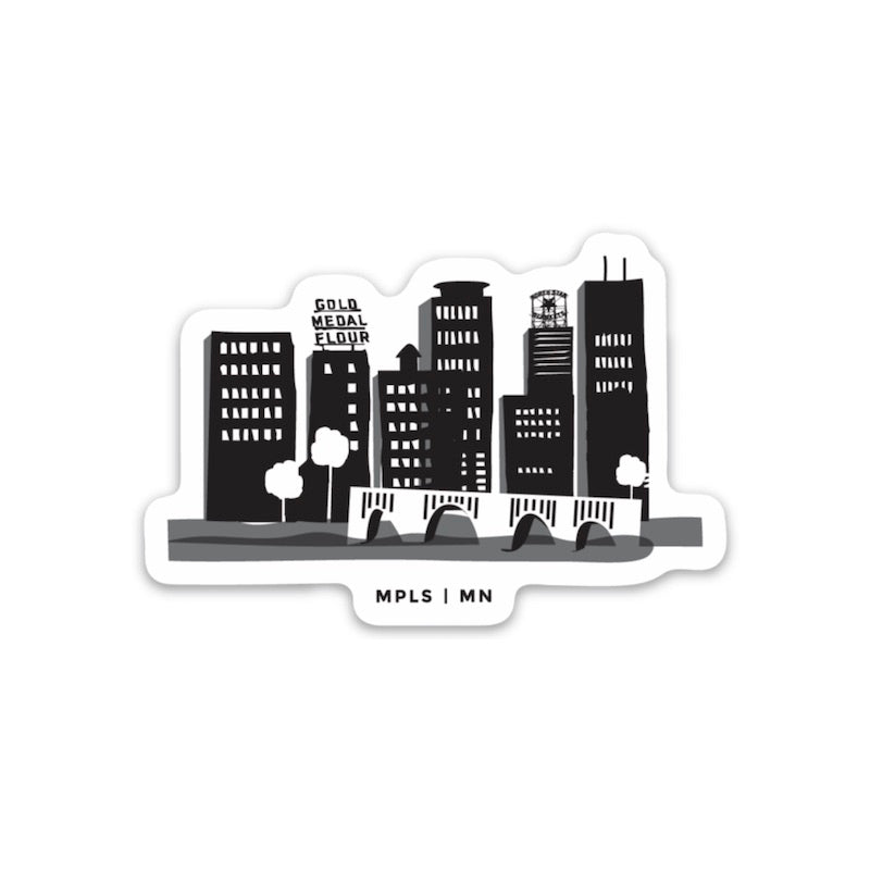 Minneapolis Skyline (Black) Sticker - Northern Glasses Pint Glass