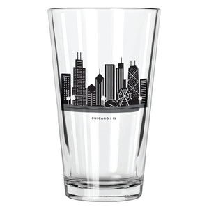 Chicago Skyline Pint Glass - Northern Glasses Pint Glass