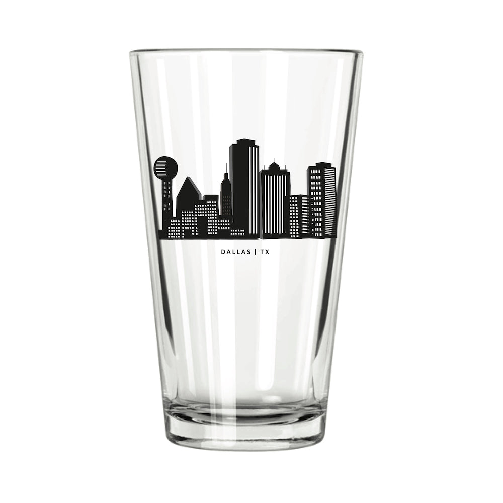 Dallas Skyline Pint Glass - Northern Glasses Pint Glass