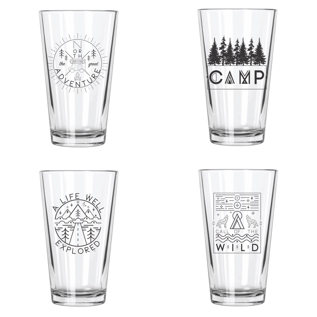 Explore More Pint Glasses Set (4) - Northern Glasses Pint Glass
