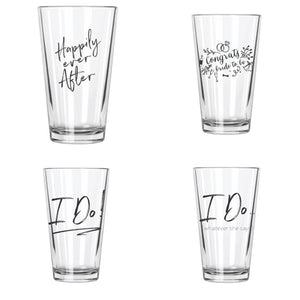Happily Ever After Wedding Series Pint Glasses Set (4) - Northern Glasses Pint Glass