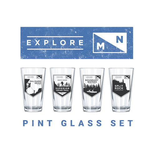 Explore Minnesota Pint Glasses Set (4) - Northern Glasses Pint Glass