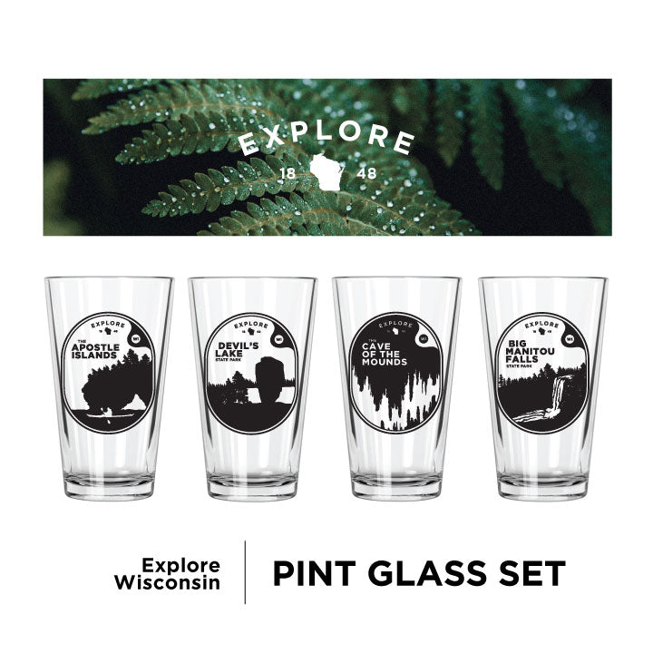 Explore Wisconsin Pint Glasses Set - Northern Glasses Pint Glass