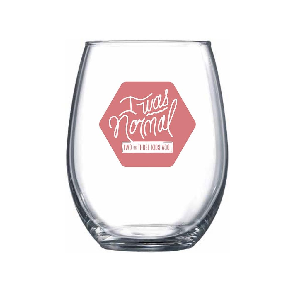 I Was Normal... 2 or 3 Kids Ago (Pink) Stemless Wine Glass | Northern Glasses