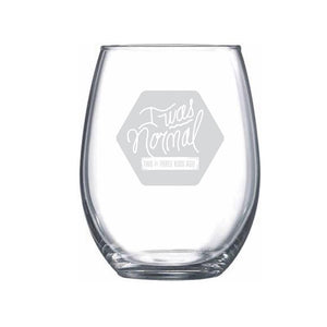 I Was Normal... 2 or 3 Kids Ago (Satin Frost) Stemless Wine Glass | Northern Glasses