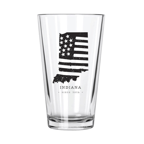 American Road Trip: Indiana Pint Glass - Northern Glasses Pint Glass