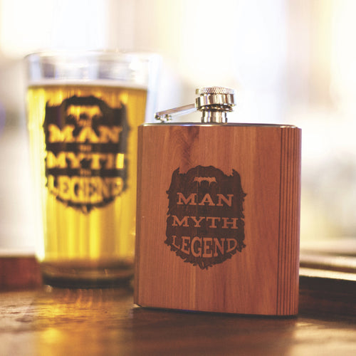 The Man, The Myth, The Legend Wood Flask - Northern Glasses Pint Glass
