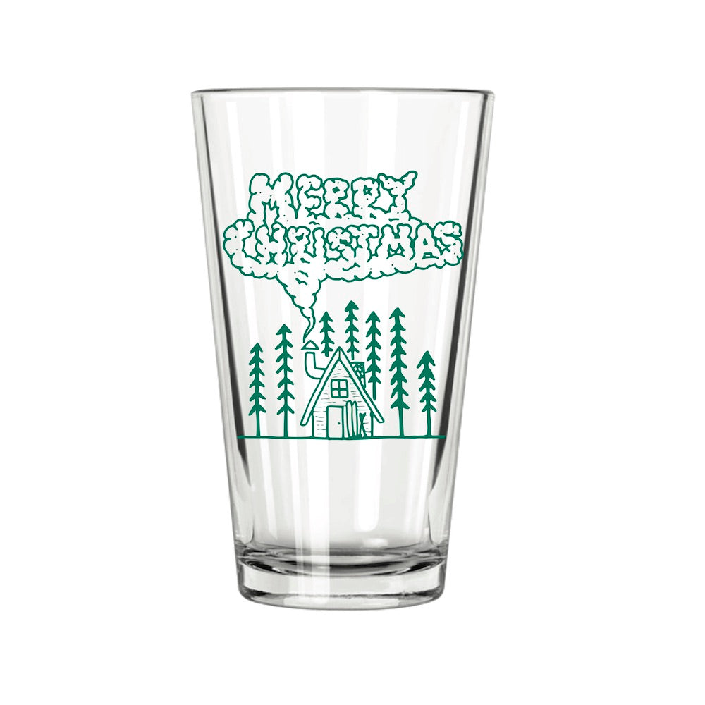 Christmas Cabin Pint Glass - Northern Glasses Pint Glass