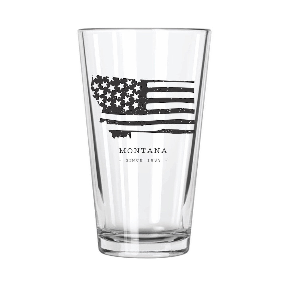 American Road Trip: Montana Pint Glass - Northern Glasses Pint Glass