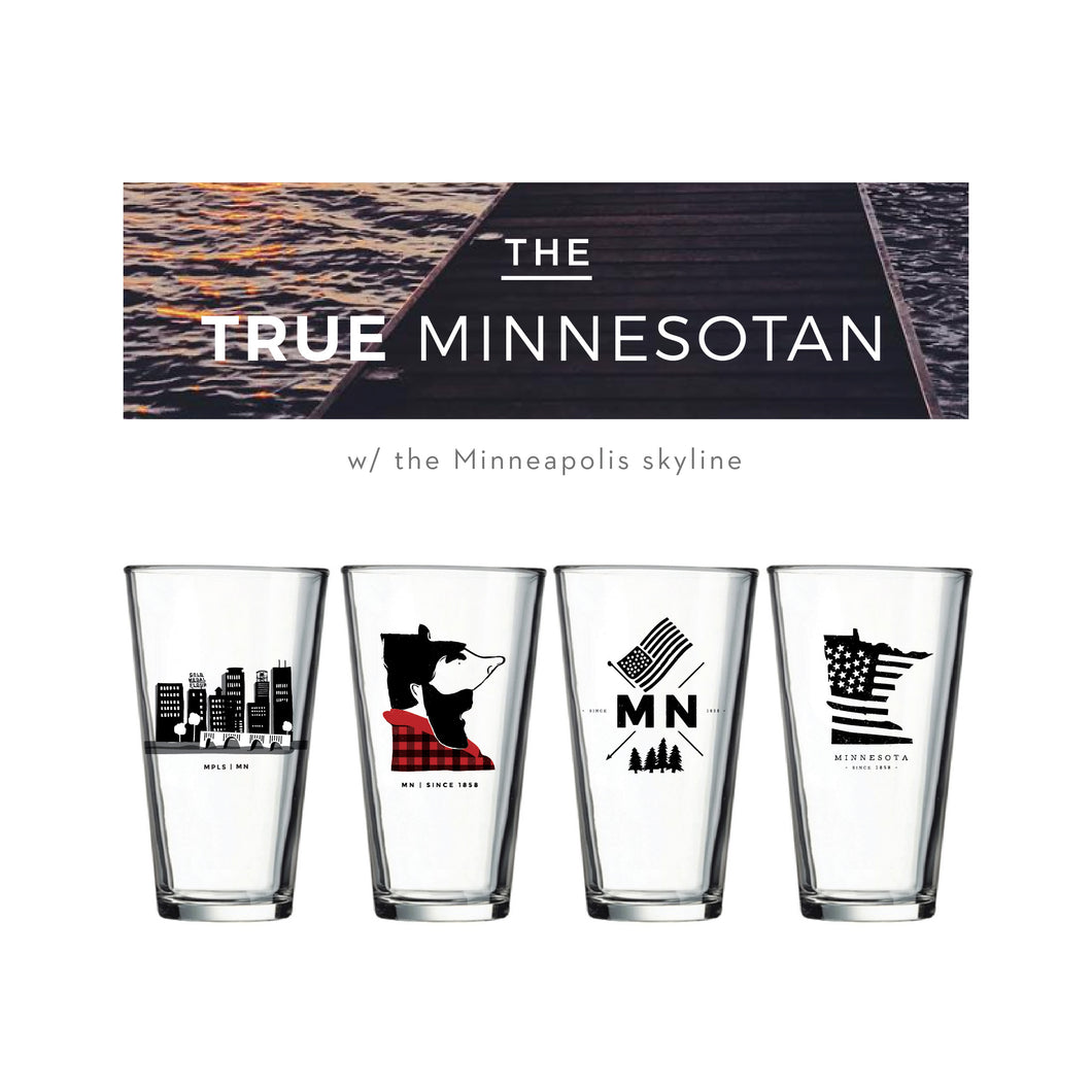True Minnesotan Pint Glasses Set (4) - Northern Glasses Pint Glass