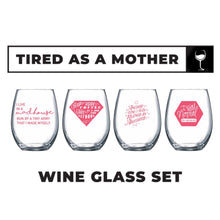 """Tired as a Mother"" Stemless Wine Glass Set (Pink) 