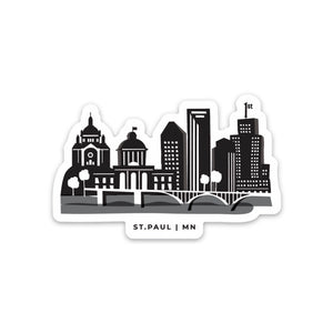 St. Paul Skyline (Black) Sticker - Northern Glasses Pint Glass
