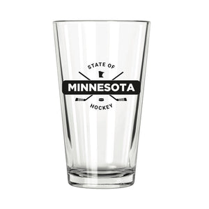 State of Hockey: Minnesota Pint Glass - Northern Glasses Pint Glass