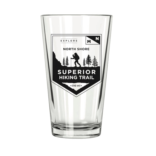 Explore MN: North Shore Superior Hiking Trail Pint Glass - Northern Glasses Pint Glass