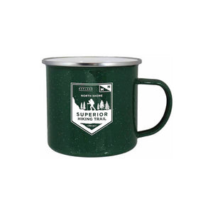 Superior Hiking Trail Enamel Campfire Mug - Northern Glasses Pint Glass