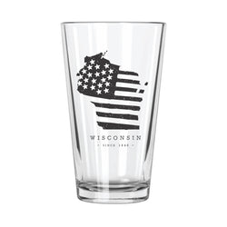 American Road Trip: Wisconsin Pint Glass - Northern Glasses Pint Glass